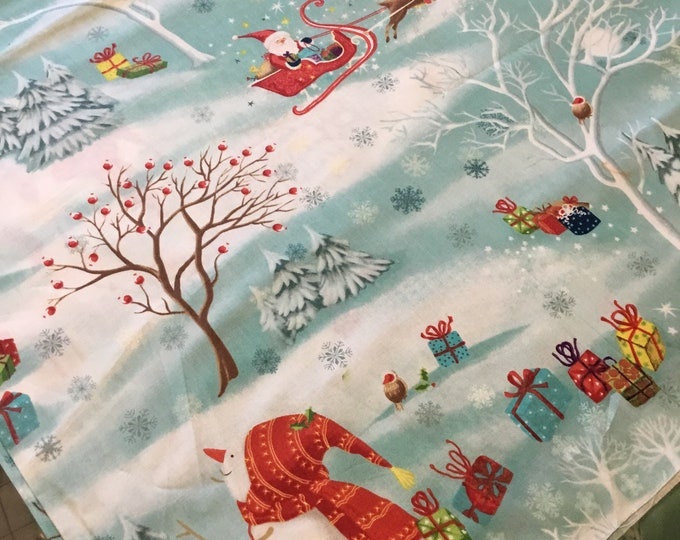 Fun Christmas fabric by the yard, Cotton fabric 36x45, fun for crafting and sewing projects, same day shipping