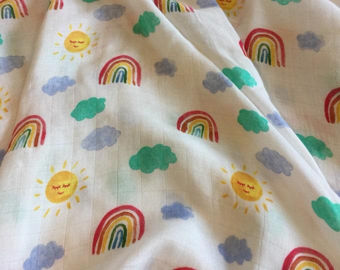 Large Double gauze swaddle, Muslin rainbow sun bamboo fiber swaddle, approximately 50x50 baby blanket, light weight breathable, rainbow baby