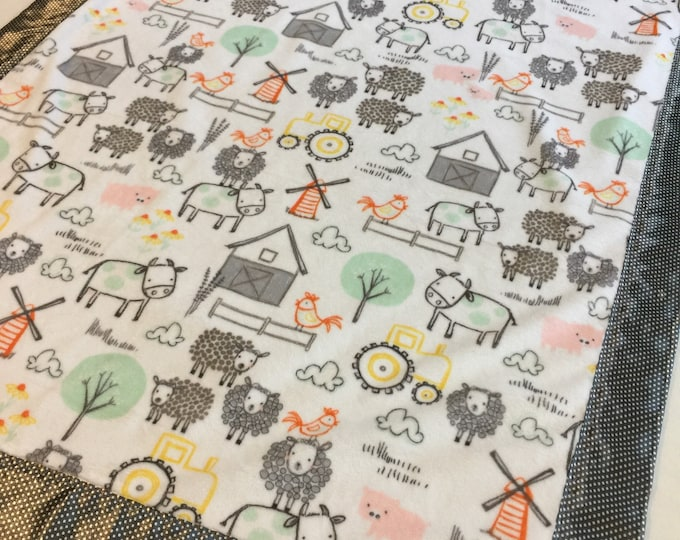 Plush Farm Animal Silky Baby Blanket 30x40, if you'd like this in a different size or different color silky fabric just message me.