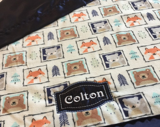 Woodland Silky Baby Blanket. This fun blanket measures 30x30. Minky front, backed and edged with silky. Can be made in other sizes