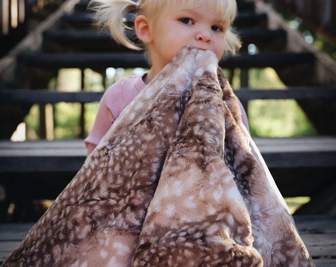 Baby Blanket, 30x30 fawn Baby blanket. Fawn minky front, backed and edged with beige silky..