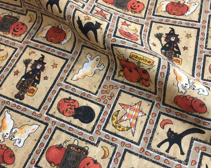 Halloween Fabric by the yard, Cotton fabric 36x44, fun for Halloween crafting and sewing projects, same day shipping