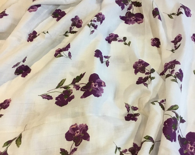 Double gauze swaddle, Muslin swaddle, beautiful purple floral swaddle baby blanket, light weight breathable baby blanket, bamboo