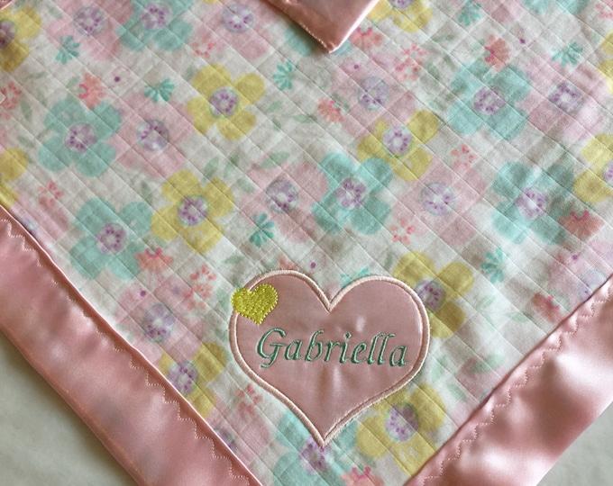 Muslin baby Blanket, Travel babyblanket, silky Blanket, lovey
