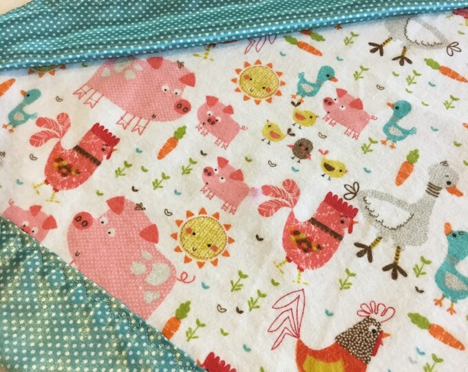 Lovey, baby blanket, crib blanket, silky blanket. Beautiful farm animal flannel front, backed and edged with pindot silky, 20x20