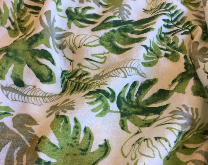 Double gauze swaddle, Muslin swaddle, Palm Leaf swaddle baby blanket, light weight breathable baby blanket