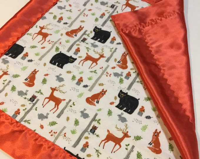 Woodland silky lovey, flannel rainbow front, backed and edged with silky fabric, 20x20 fox travel silky