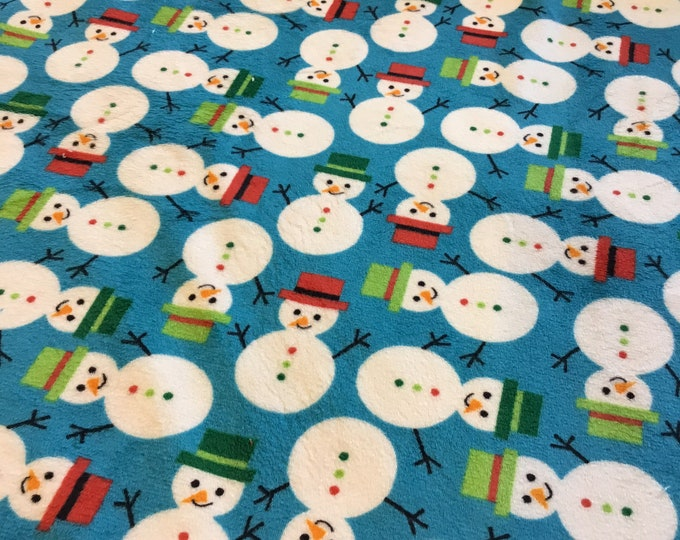 Plush Minky snowman fabric, Shannon's fabric, sold by the yard, ready to ship