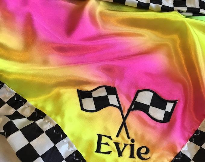 Silky personalized lovey's 20x20, lovies, baby blanket, silky blanket, silky lovey, rainbow, checkered flag