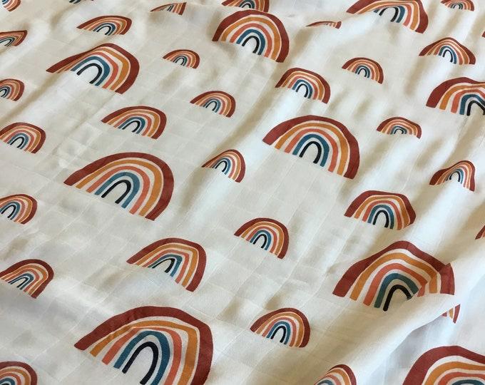 Large Double gauze swaddle, Muslin rainbow bamboo fiber swaddle, approximately 47x47 baby blanket, light weight breathable, rainbow baby