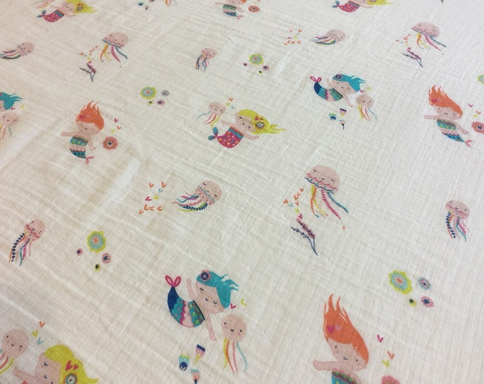 Mermaid Double gauze swaddle, Muslin swaddle, baby swaddle , swaddle baby blanket, rainbow, receiving blanket, 42x45