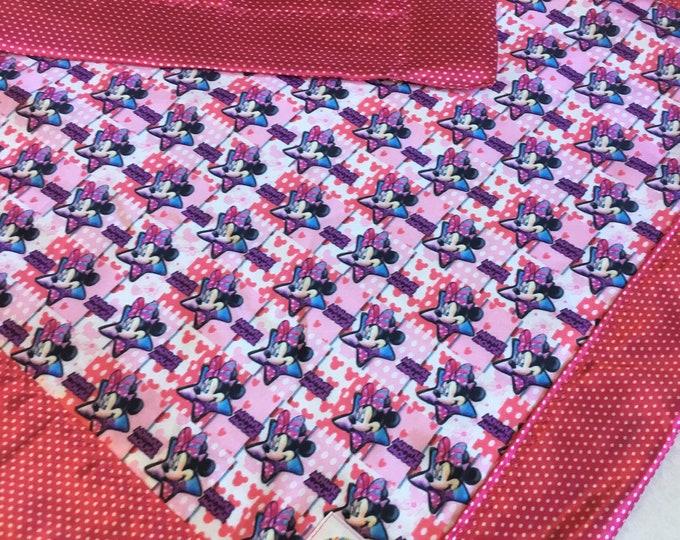 Minnie Mouse Blanket, baby blanket, Silky Blanket, Disney blanket, Stroller blanket, Lovey, baby shower gift, baby girl , travel blanket