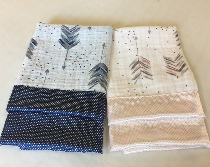 Double Gauze, Arrow Lovey, Baby Blanket, Silky Blanket, Breathable blanket, Satin Blanket, Baby Shower gift, Muslin swaddle, gift