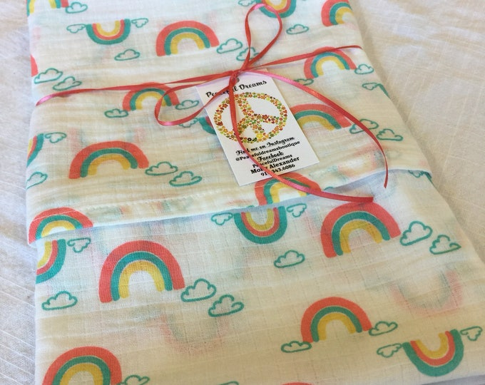 Double gauze swaddle, Muslin swaddle baby blanket, rainbow baby blanket, swaddle blanket, newborn, light weight, rainbow swaddle lovey