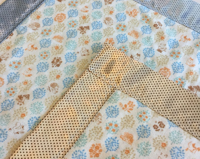Muslin Blanket, gender Neutral, travel silky, double gauze, woodland, silky, baby shower, baby blanket, car seat blanket, unique gift