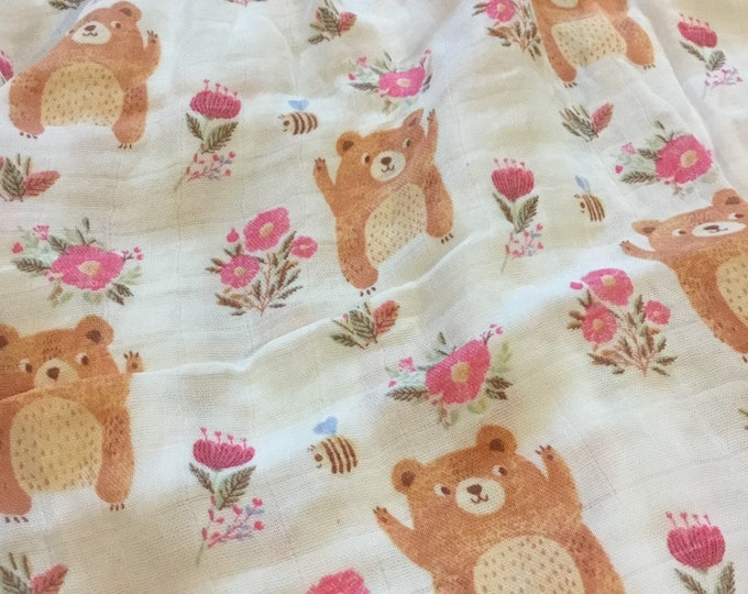Double gauze swaddle, floral Bear bumblebee swaddle baby blanket, light weight breathable baby blanket, bamboo