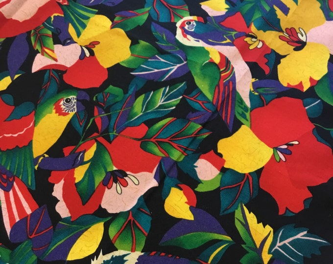 Bright Fun bird fabric by the yard, Cotton fabric 36x45, fun for crafting and sewing projects, same day shipping