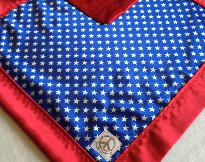 Baby Blanket, Travel Silky, Blue with white Stars backed & edged with beautiful red silky fabric..Babyblanket, Stroller Blacket. USA