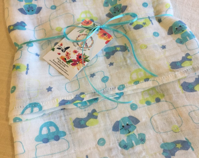 Muslin swaddle blanket, puppy swaddle, airplane swaddle, double gauze baby blanket, baby blankets, cotton baby blanket, ready to ship