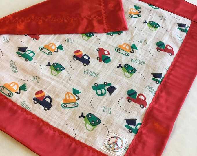 Construction truck muslin / silky lovey, double gauze baby blanket, travel silky baby blanket, baby shower gift 20x20