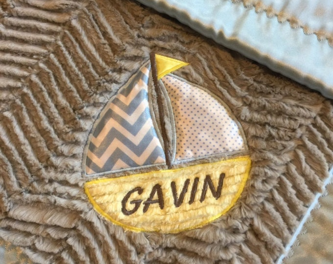 "Sailboat Crib Blanket ""personalized"" Minky front, backed & edged with silky fabric, this blanket is a lap of luxury, sure to be a favorite."