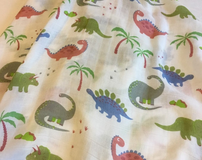 Double gauze swaddle, dinosaur swaddle, 70 bamboo 30 cotton, Muslin swaddle, swaddle baby blanket, light weight breathable blanket