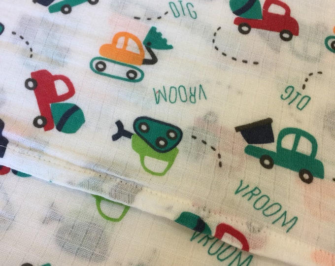 Double gauze swaddle, Muslin swaddle, baby blanket, Construction, trucks, swaddle blanket, newborn, breathable baby blanket, muslin blanket