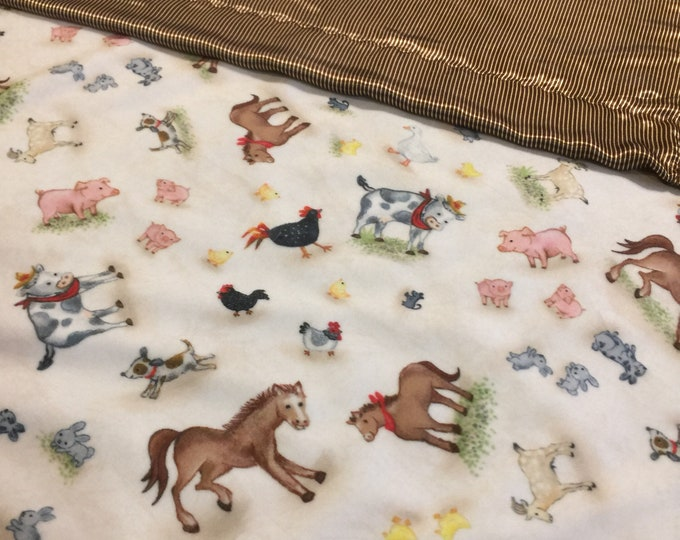 Plush farm silky lovey, 20x20 cozy cuddle farm front, backed and edged with coordinating silky fabric,