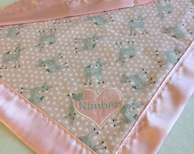 Lovey, baby blanket, crib blanket, silky blanket. Beautiful deer flannel front backed and edged with pink charmeuse silky. 20x20