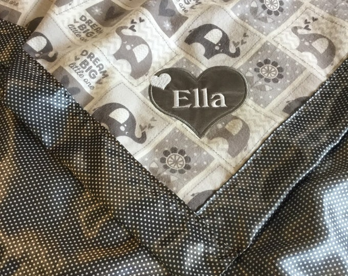 Elephant baby blanket, silky blanket, baby blanket. Flannel front, backed and edged with silky fabric 30x40