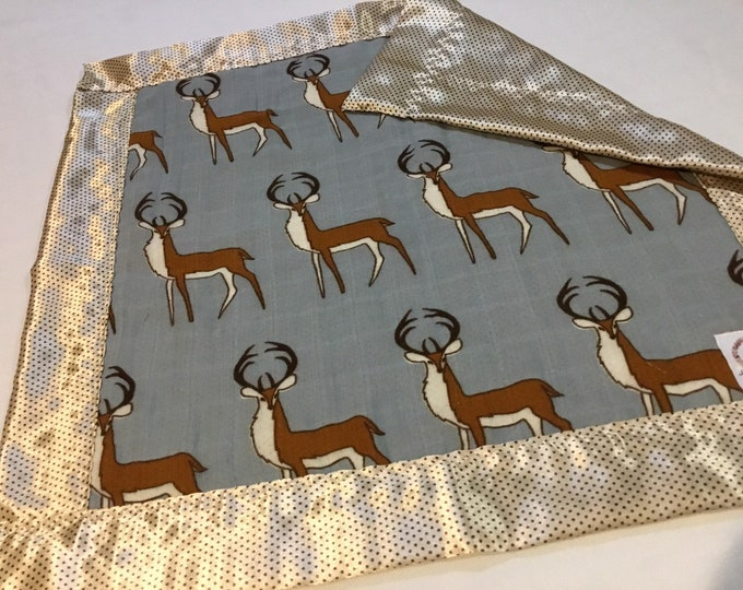 Lovey, Deer bamboo Muslin front, backed and edged with pindot silky fabric. This is travel size lovey 20x20, Muslin silky