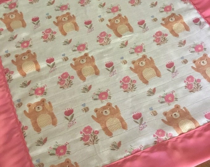Muslin, 20x20 lovey l, Baby Blanket, silky blanket, blanky, Breathable muslin backed and edged with silky fabric.