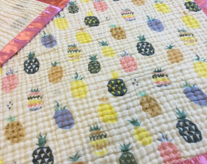 Pineapple Blanket, 6 layers of cotton muslin edged with satin trim, this baby blanket measures approximately 40x48, Ready to ship