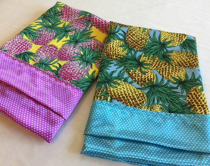 Custom Listing for one pink pineapple lovey, one blue pineapple Lovey personalized, one muslin hula dancer swaddle 45x45