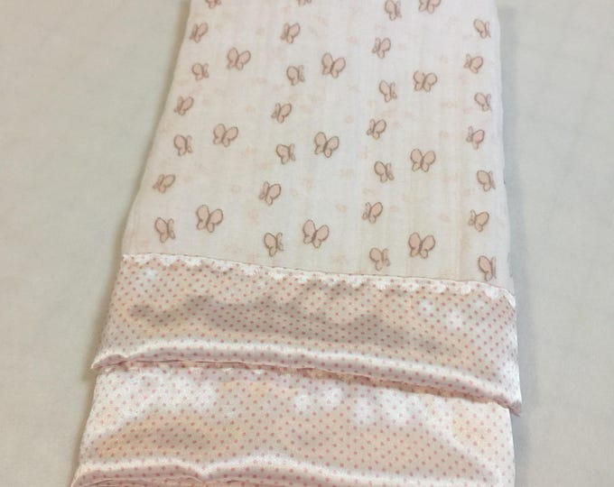 Muslin Blanket, travel silky, baby girl, perfect baby gift, baby shower, butterfly silky, baby blanket, car seat blanket, unique gift