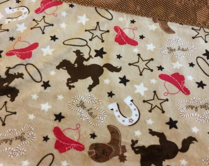Cow Boy, Cow Girl, Baby Blanket, Minky Blanket, Silky Blanket, Plush Blanket, western 40x50 toddler soze