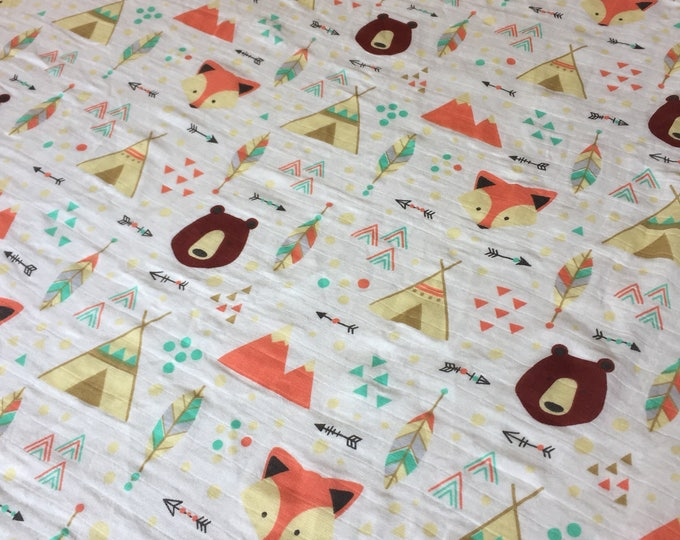 Muslin swaddle, baby swaddle, double gauze, baby blanket, baby shower gift, woodland, fox, bear, Tee Pee, cotton blanket, breathable blanket