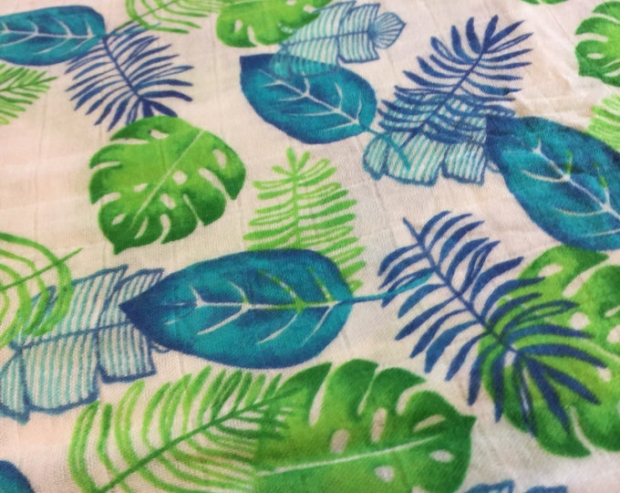 Double gauze swaddle, Organic Muslin swaddle, palm leaf , swaddle blanket, newborn, light weight breathable baby blanket 45x45 bamboo fiber