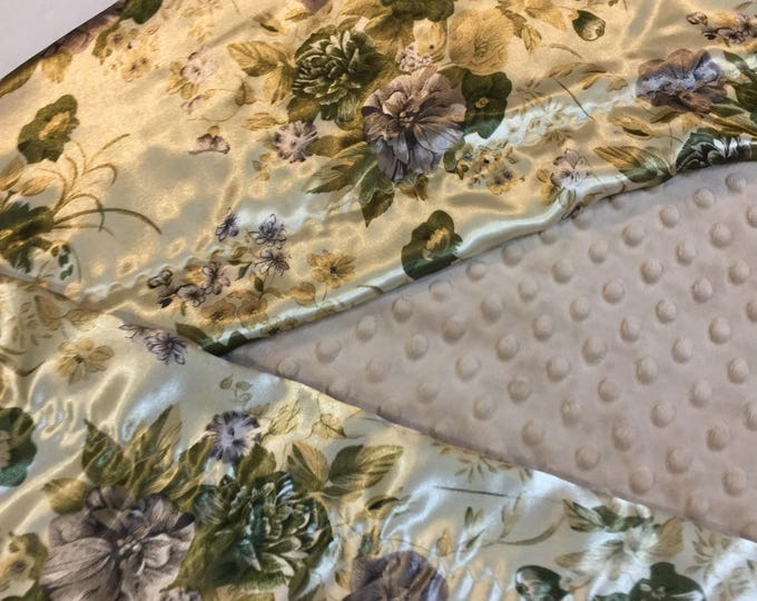 40x50 Minky front backed and edged with floral silky