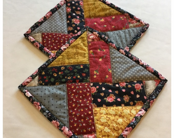 Two Homemade Heaven Duty quilted potholder, Set of handmade quilted hot pads, 9x9, perfect gift