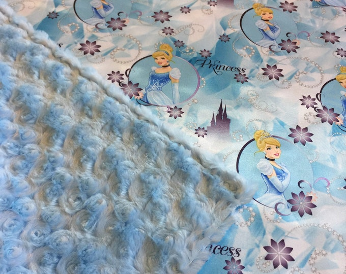 Gorgeous Silky Cinderella Princess Baby Blanket, silky satin Cinderella Princess front, back with high quality light blue cuddle rose minky