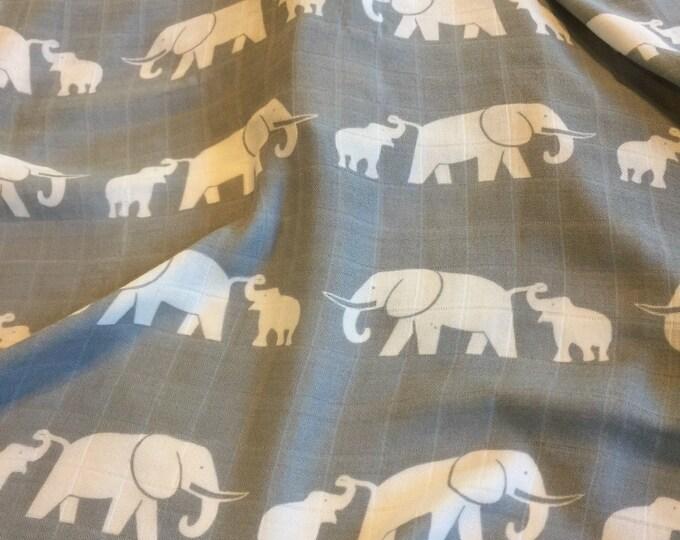 Elephant swaddle,  Double gauze swaddle, bamboo cotton, swaddle baby blanket, light weight breathable baby blanket, approximately 47x47