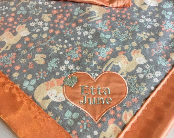 20x20 lovey, deer, fox, bunny, woodland flannel front, backed and edged with coordinating silky