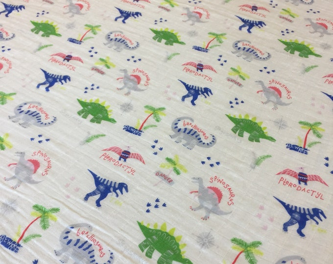 Organic Cotton Muslin swaddle, dinosaur swaddle blanket, newborn, dinosaurs, light weight breathable baby blanket, baby shower, gift 45x45