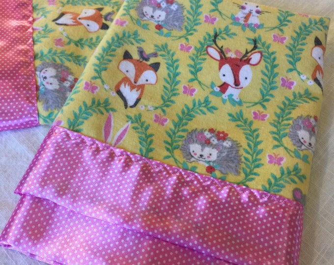 Woodland baby blanket. Flannel front, backed and edged with silky fabric. This is travel size lovey 20x20. Perfect baby shower gift