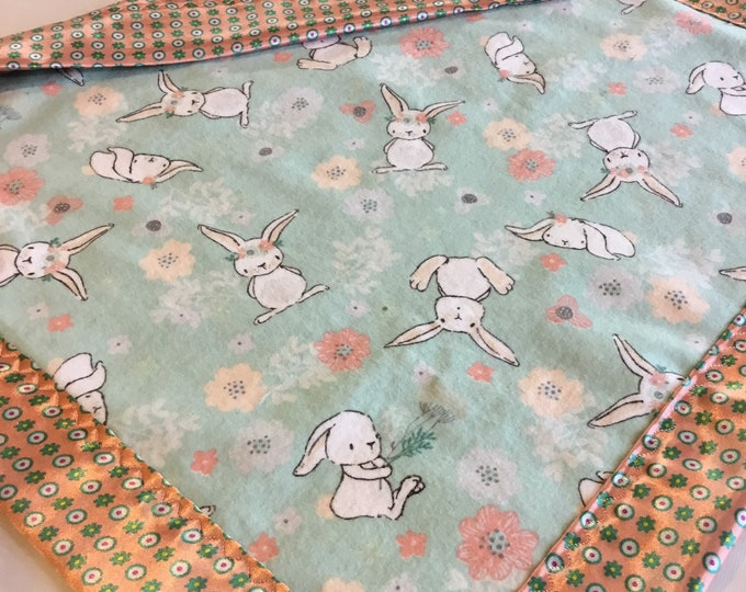 Lovey, baby blanket, crib blanket, silky blanket. Beautiful bunny flannel front, backed and edged with floral silky, 20x20, woodland