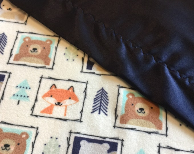 Woodland lovey ..This fun blanket measures 20x20 Minky front, backed and edged with silky. Can be made in other sizes