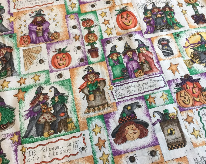 Halloween Fabric by the yard, Cotton fabric 36x45, fun for Halloween crafting and sewing projects, same day shipping