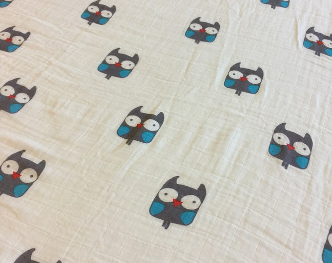 Owl, Double gauze swaddle, Muslin swaddle, baby swaddle , swaddle baby blanket, receiving blanket,  40x45