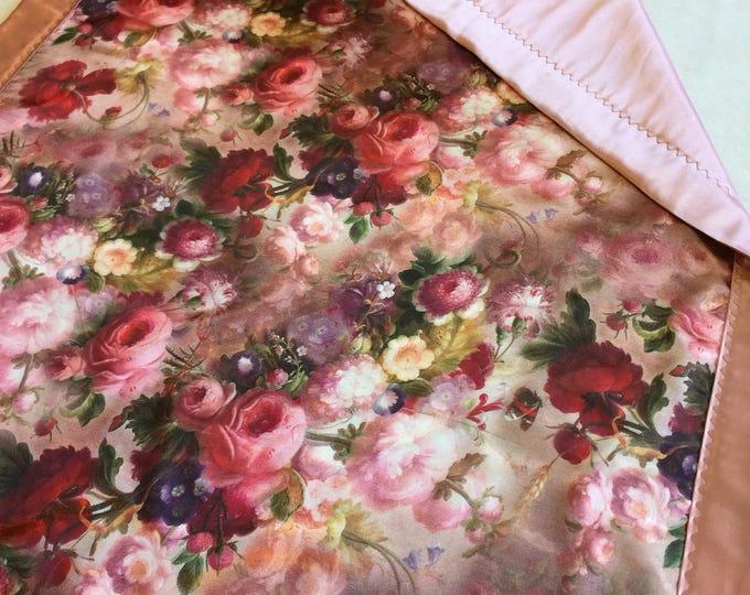 Baby Blanket, Silky Baby Blankets, lovey, personalized baby blanket, Peaceful Dreams, Crib Blanket, Floral Blanket, crib blanket, baby girl